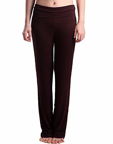 HDE Women's Fold Over Waist Yoga Lounge Pants Flare Leg Workout Leggings (Dark Brown, (Out Lounge Pants)