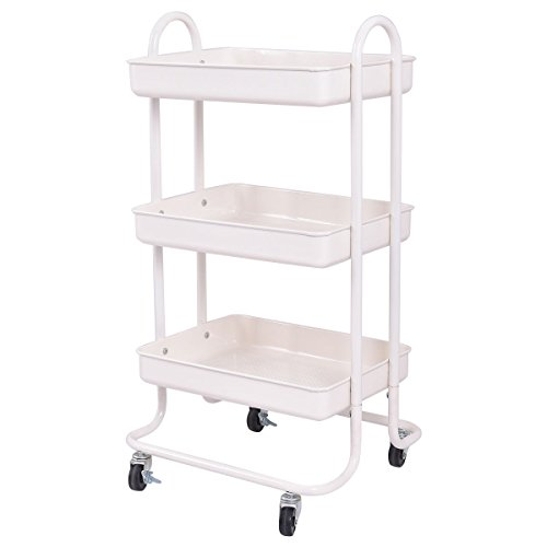 Giantex 3-Tier Rolling Kitchen Trolley Cart Portable Shelves Handle Storage Kitchen Steel Serving Island Utility (Food Service Trolley)