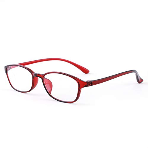 YUANJJ Reading Glasses 2.00 Screwless Hinge Ladies Readers, Red Over-The-Counter Optical Glasses, Anti-Blue Light Radiation, Eye Protection Computer Glasses