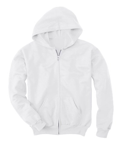 Hanes Big Boys' ComfortBlend EcoSmart Full-Zip Hoodie_White_XS