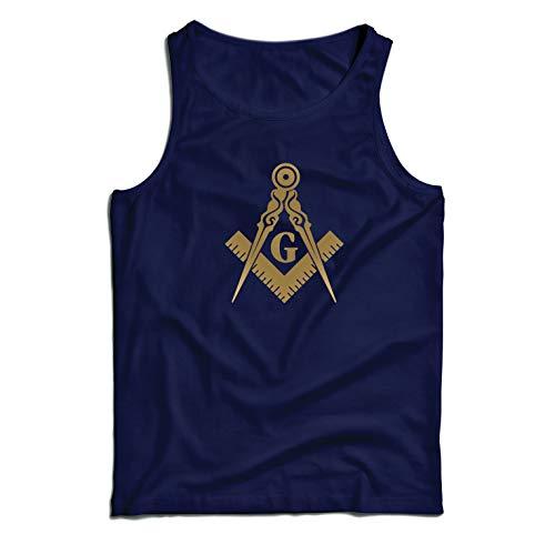 (lepni.me Men's Tank Top Fraternal & Masonic Logo Freemasonry Square and Compass (Small Dark Blue Gold))