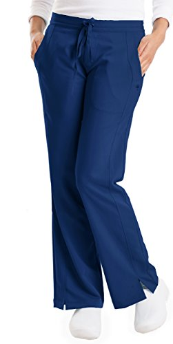 Ladies Flat Front Scrub Pants (Purple Label Women's Taylor 9095 2 Pocket Drawstring Scrub Pant by Healing Hands- Navy- XX-Small)
