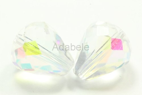 Emerald Sapphire Facet Rondelle Bead (24 10x8mm Adabele Austrian TearDrop Crystal Beads Clear AB Alternative For Swarovski Preciosa Crystalized Beads 5500 #SST-1002)