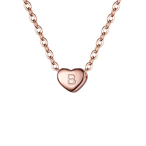BriLove 925 Sterling Silver Tiny Initial Heart Necklace for Women Pendant Choker Necklace for Girls Letter B 14K Rose-Gold-Toned]()