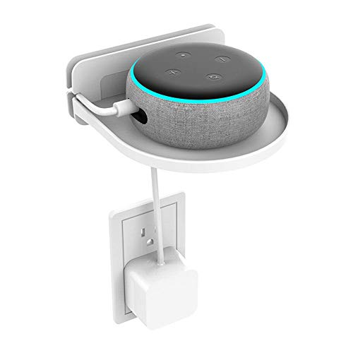 Volwco Outlet Shelf, Amazon Echo Dot Holder Wall Mount with Cord Storage Organizer, Bathroom Bedroom Space Saving Design Charging Rack for Echo Dot 2nd/ 3rd Gen, Google Speakers, Headsets, Cellphones