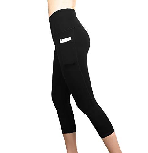 FENGSHUAI Pantalones Deportivos Pantalones de plástico para Damas Pantalones de Yoga de diseño de Bolsillo Transpirable Adecuado para Mujeres (Negro) por FENGSHUAI