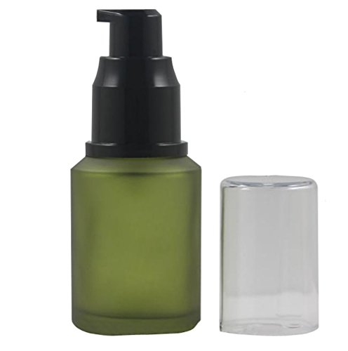1PCS 30ml/1oz Empty Refillable Frosted Glass Cream Lotion Pump Bottle Container Cosmetic Make up Dispenser With Black Pump Head And Anti-Dust Cap Shower(Green)