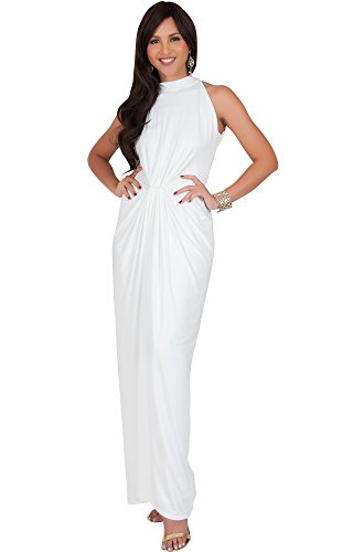 KOH KOH Plus Size Womens Long Sleeveless Sexy Vintage Cocktail Slimming Party Evening Summer Sun Prom Bridesmaid Wedding Guest Gown Gowns Maxi Dress Dresses for Women, Ivory White XL 14-16 (2)