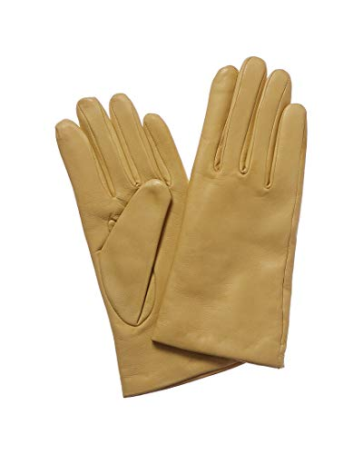 Portolano Womens Women's Yellow Cashmere-Lined Leather Gloves, 7, Yellow (Portolano Womens Cashmere)