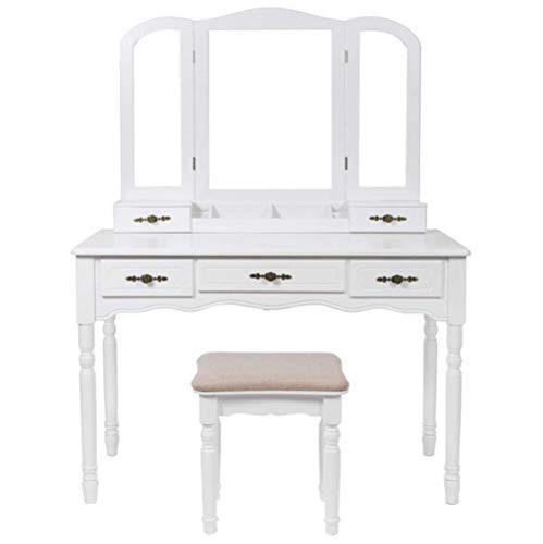 Yuwen Tocador Moderno, Mesa de Maquillaje de Madera, con Espejo, Taburete y cajones, para el Dormitorio, vestidor, cajones...