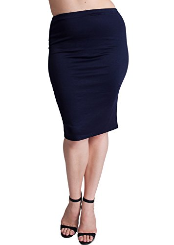 Woman Navy Blue Plus Size Banded Waistline Pencil Skirt