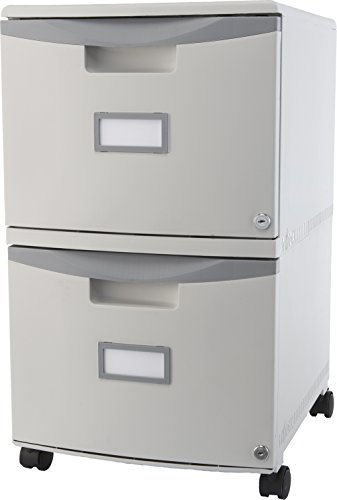 Mobile 2 Filing Cabinets - Storex 2-Drawer Mobile File Cabinet with Lock, 18.25 x 14.75 x 26 Inches, Legal/Letter, Gray (61310B01C)