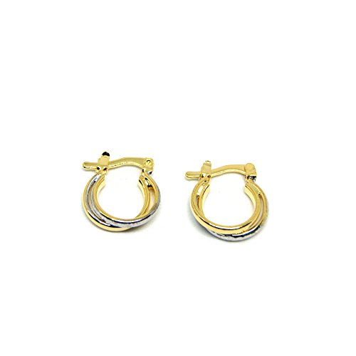 Two Earrings Tone 18k (VIVA Tiny 18K Two-Tone Gold Plated Hoop Earrings)