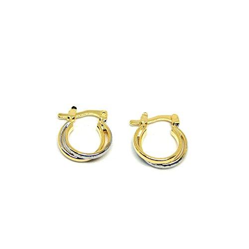 Earrings 18k Tone Two (VIVA Tiny 18K Two-Tone Gold Plated Hoop Earrings)