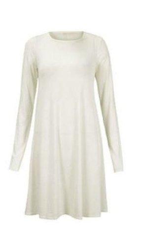 Damen Schlicht Schottenkaro Langärmlig Trikot Damen Stretch Ausgestellt Shorts Swing Kleid 16 18 20 22 24 26 - Weiß, Damen, Größe 48/50