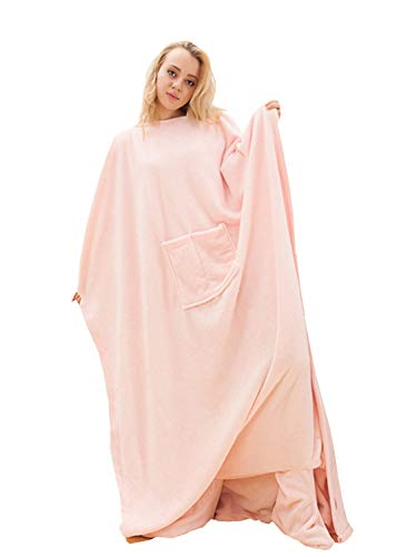 Chemstar Fleece Wearable Blanket with Sleeves, Front Pocket Foot Pocket for Women Men, Super Soft Warm and Cozy - Pink Snuggie