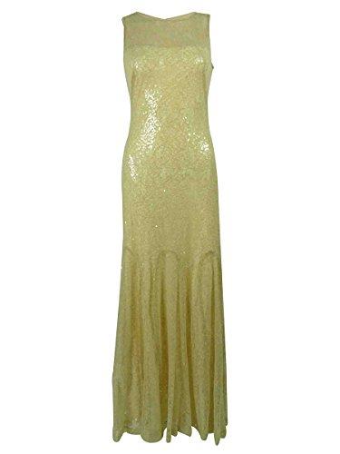 (Lauren Ralph Lauren Women's Sequined Lace Gown (4, Beige))