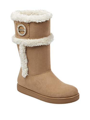 GUESS Factory Womens Ailey Faux-Fur Rhinestone Logo Boots