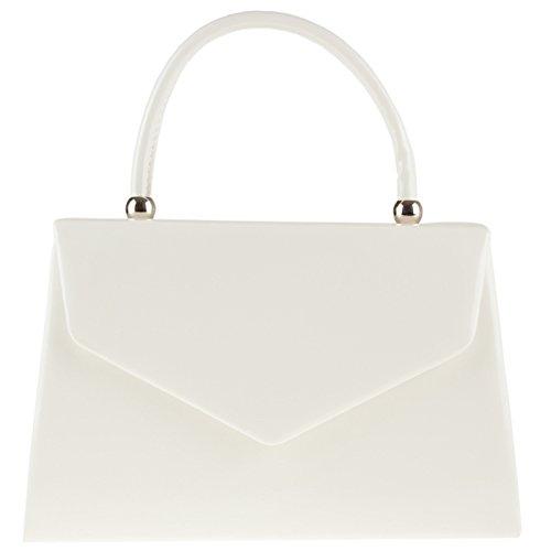 Bolso de mano de Fi9, de charol, color beige, para boda, fiesta de noche, para mano u hombro blanco - blanco