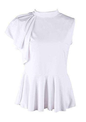 Mujeres Color Mangas Lado Camisas Blanco Blusas Tops Blusa Sin ...