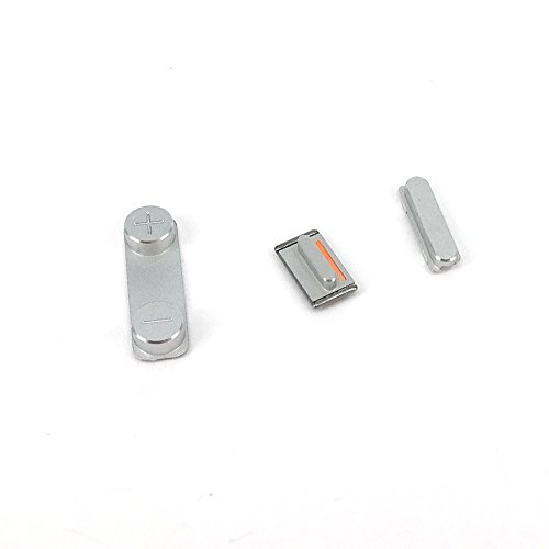On Off Power Volume Side Button Key Mute Silent Switch Replacement for Iphone 5 5S (Silver)
