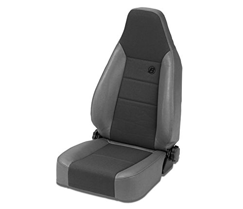 Bestop 39438-09 TrailMax II Sport Charcoal High Back Vinyl with Fabric Insert Single Jeep Seat for 1976-2006 Jeep CJ and Wrangler ()