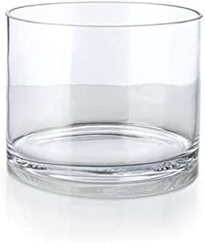 Serene Spaces Living Set of 6 Clear Glass Cylinder Vase, Use for Floral Arrangements or as Candle Holder, Cylindrical Shape Offers Endless Design Options, Measures 8 Diameter 6 Tall