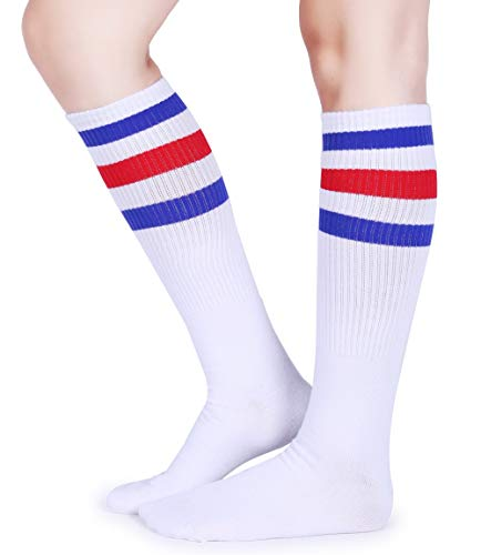 Pareberry Classical Triple Stripes Soft Cotton Over-the-Calf Retro Tube Socks (A-Pair(Blue/Red/White)) -