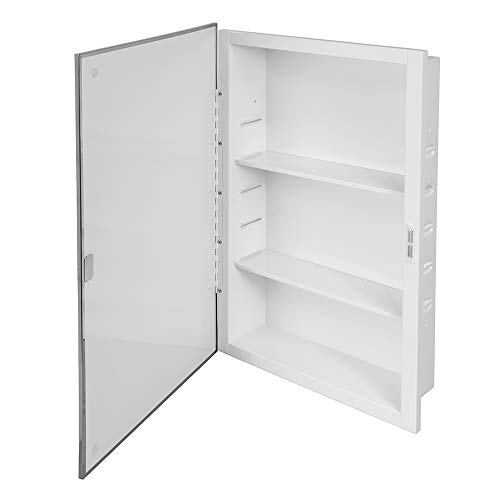 Prime Line MP59750 Recessed Mirrored Medicine Cabinet, 16 In. x 26 In, steel Housing & Shelves, Pack of 1