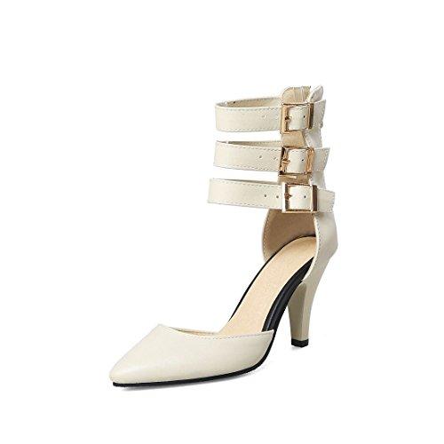 Punta Mujer Beige y Americanos Mujer para Sandalia Sandalias Botas Pulsera Talón de Alto de Sandalias con Zapatos Fresco Europeos Mujer 08WXwHgqgZ