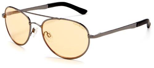 Eagle Eyes StimuLight Aviator Glasses -  Non-Polorized Explorer Aviator Glasses, Gunmetal Frame, Light Orange - Glasses Lite Frames