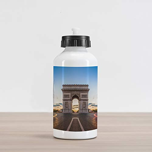 Ambesonne European Aluminum Water Bottle, Paris Famous Champs Elysees Avenue Historical Monument French Culture Panorama, Aluminum Insulated Spill-Proof Travel Sports Water Bottle, Multicolor