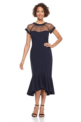 Maggy London Women's Petite Illusion Cocktail Dress, Dark Navy, 6P (Dress Illusion Blue)