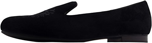 Moccasins Alessia Leather Crest Embroidered Club 'Black Trotteur Slipper Embellished qCpwOC