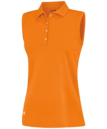 adidas Golf Women's Puremotion Solid Sleeveless Polo Shirt, Bright Orange, Small