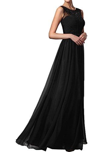 Promkleid Applikation amp;Tuell Chiffon Elegant Partykleid Abendkleid Ivydressing Rundkragen Schwarz Festkleid Damen Ftw0q7O