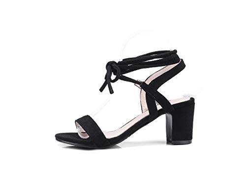 Correas Negro Femeninas El Mujeres Abiertas Verano Para Zapatos Helada Con Cruzadas Cabeza De Redondos Sandalias Tiras xqAwSZAY
