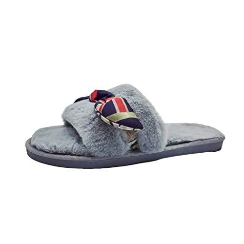 Slippers, Ladies Slip On Sliders Fluffy Faux Fur Bowknot Flat Flip Flop Sandals(US 6,Gray) ()