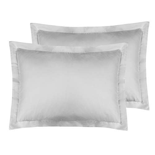 FLXXIE Standard Shams, Pillowcases, Pack of 2, 100% Brushed Microfiber, Ultra Soft, Light Grey
