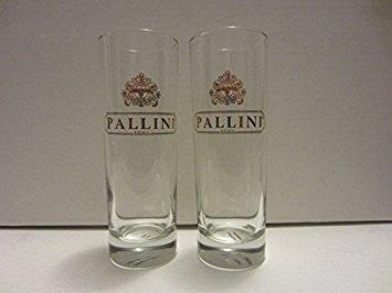 - Set of 2 Pallini Roma Lemoncello Italian Liqueur Gold Logo Tall Highball Cocktail Glasses