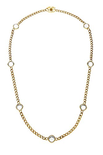 CHANEL Gold & Crystal 'CC' Turnlock Necklace (Pre-Owned)