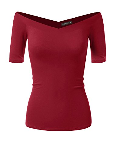 Women Short Sleeve Slim Fit Stretch Crop Top Off-Shoulder V Neck T-Shirt