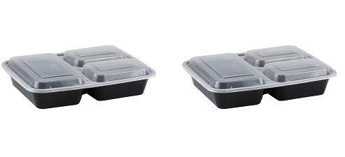 Recipiente rectangular de 3 compartimentos con tapa, apto ...