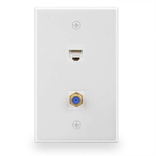 BATIGE 1 GANG Cable TV Coax F Type Port Keystone And RJ45 Cat6 Ethernet Port Wall Plate (1 F-Type & 1 CAT6)
