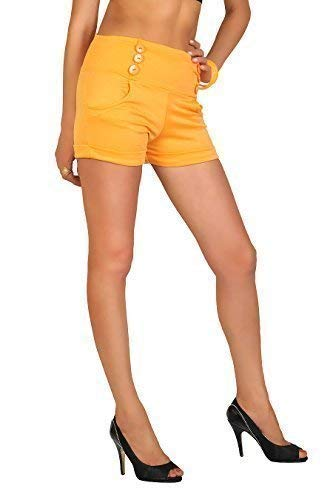 e Sofisticato Tasche Bottoni UK con a FASHION Size FUTURO Shorts Alta Vita 18 Estate Giallo PA08 8 Trendy XnvFz1R