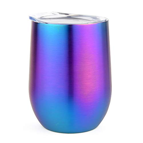 Stainless Steel Stemless Wine Glass Tumbler with Lid, 12 oz | Double Wall Vacuum Insulated Travel Tumbler Cup - Sweat Free, Unbreakable, BPA Free (Rainbow, 12oz)