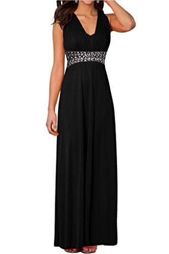 Abendkleid Ausschnitt Steine Damen Festkleid Elegant Rueckfrei Schwarz V Ivydressing Promkleid x8StFw44q