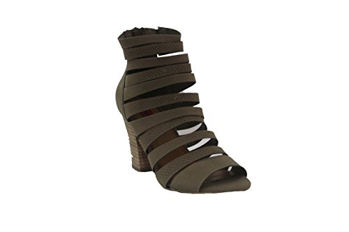 Zippered Women Sandals - London Rebel Women's Zippered Strappy Block Heels, Tan, 8.5 B(M) US