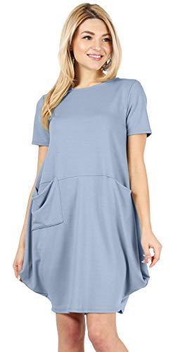 Denim Blue Dresses for Women Bubble Dress Loose Fit Dresses Short Sleeve Summer Dress Denim Blue Dress (Size Large US 10-12, Denim Blue) (Balloon Hem Dress)