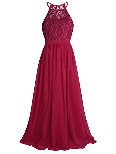 CHICTRY Kids Girls Halter Neck Chiffon Long Party Junior Wedding Evening Prom Maxi Gown Dress Burgundy 10